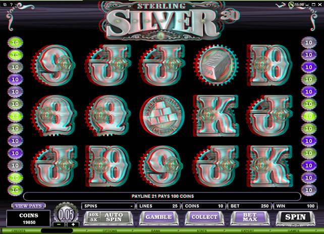 Sterling Silver 3D Video Slot